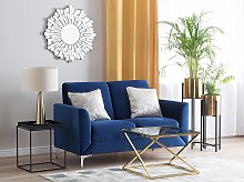 Sofa Blue Fabric Upholstery Silver Legs 2 Seater