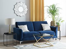 Sofa Blue Fabric Upholstery Silver Legs 3 Seater