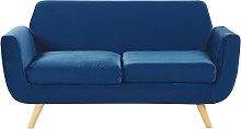 Sofa Blue Retro Velvet Upholstery Seat Cushion