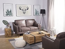 Sofa Brown 2 Seater Faux Leather Wooden Legs