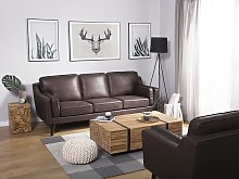 Sofa Brown 3 Seater Faux Leather Wooden Legs