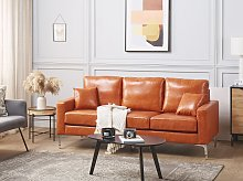 Sofa Brown Faux Leather 3 Seater Cushioned Seat