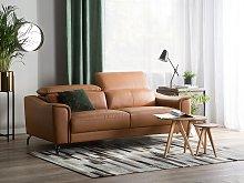 Sofa Brown Leather 3 Seater Adjustable Headrest