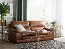 Sofa Brown Leather 3 Seater Extra Seating Space