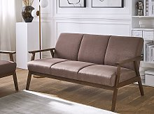 Sofa Brown Polyester Upholstery 3 Seater Retro