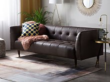 Sofa Brown Split Leather 3 Seater Buttoned