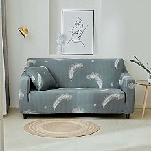 Sofa Cover Stretch Elastic Gray blue feathers