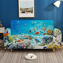 Sofa Covers 2 Seater Underwater World Fish Couch