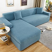 sofa covers 3 seater Light blue embossed jacquard