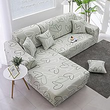 sofa covers 3 seater Natural heart polyester