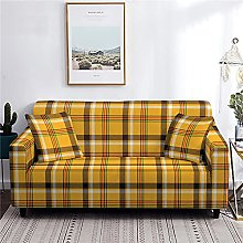 Sofa Covers 4 Seater Yellow Grid Couch Cover