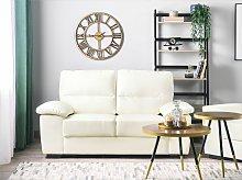 Sofa Cream 2 Seater Faux Leather Living Room