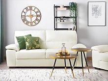 Sofa Cream 3 Seater Faux Leather Living Room