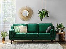 Sofa Green 3 Seater Velvet Wooden Legs Classic