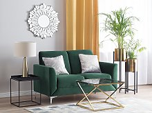 Sofa Green Fabric Upholstery Silver Legs 2 Seater