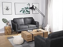 Sofa Grey 2 Seater Faux Leather Wooden Legs Classic