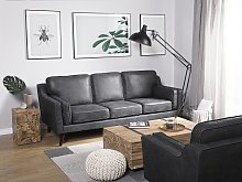 Sofa Grey 3 Seater Faux Leather Wooden Legs Classic