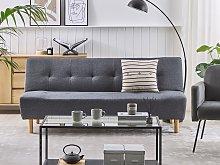 Sofa Grey Fabric Upholstery Light Wood Legs 3