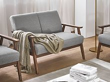 Sofa Grey Polyester Upholstery 2 Seater Retro