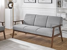 Sofa Grey Polyester Upholstery 3 Seater Retro