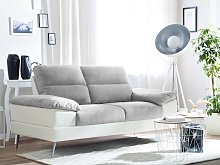 Sofa Grey Upholstered Fabric Faux Leather 3 Seater