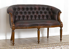 Sofa Isabelle Victorian style 2 seats walnut faux