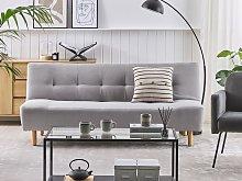 Sofa Light Grey Fabric Upholstery Light Wood Legs