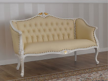 Sofa Megan Decape Baroque style ivory and gold