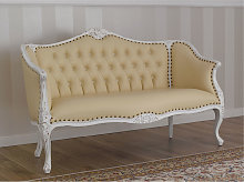 Sofa Megan Shabby Chic style antique white faux