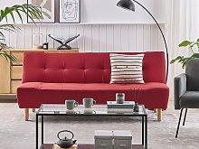 Sofa Red Fabric Upholstery Light Wood Legs 3