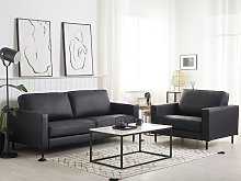 Sofa Set Black Leather 3 Seater Sofa Armchair