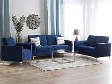 Sofa Set Blue Velvet Upholstery 3 + 2 + 1 Seater