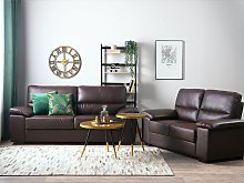 Sofa Set Brown 3 + 2 Seater Faux Leather Living