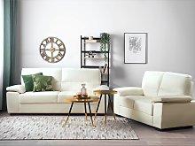 Sofa Set Cream 3 + 2 Seater Faux Leather Living