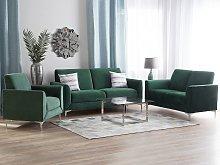 Sofa Set Green Velvet Upholstery 3 + 2 + 1 Seater