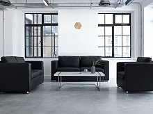 Sofa Set Suite 3+2+1 Black Split Leather