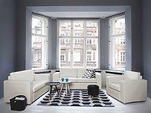 Sofa Set Suite 3+2+1 White Split Leather