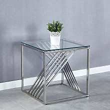 Sofa Side End Table Clear Glass Top & Chrome Legs