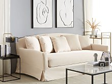 Sofa Slipcover Beige Polyester Fabric for 3 Seater Couch Rectangular Cover