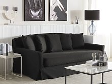 Sofa Slipcover Black Polyester Fabric for 3 Seater