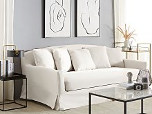 Sofa Slipcover White Polyester Fabric for 3 Seater