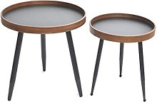 Sofa Table Round Side Table, Metal Support Leg End