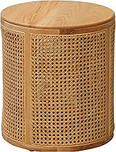 Sofa Table Round Solid Wood Rattan Side