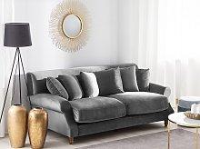 Sofa with 6 Pillows Grey Velvet Upholstery Light