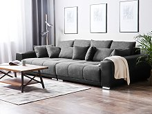 Sofa with 8 Pillows Grey Fabric Upholsery 3 Seater