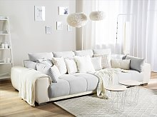 Sofa with 8 Pillows Grey with Beige Fabric