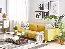 Sofa Yellow 3-Seater Modern Retro Style Living