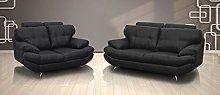 SOFASANDMORE Sandy Black PU Leather Sofa 3+2 Seater