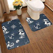Soft Comfort Flannel Bathroom Rug Mats Vintage Sea