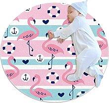 Soft Non-slip Round Rugs, Flamingo Nautical Stripe